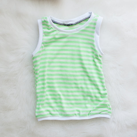Lime Green Striped Tank Top