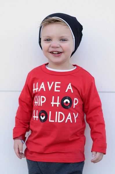 Hip Hop Holiday Tee Shirt - Christmas Red Tee Shirt-Tee Shirts-Hip Kid Apparel-kids graphic t-shirts-kids graphic tees-modern kids clothes-trendy shirts for kids-unisex kids shirts-for-boys-girls