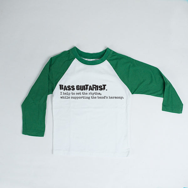 Bass Guitarist Tee - Green and White Raglan Top-Tee Shirts-Hip Kid Apparel-kids graphic t-shirts-kids graphic tees-modern kids clothes-trendy shirts for kids-unisex kids shirts-for-boys-girls
