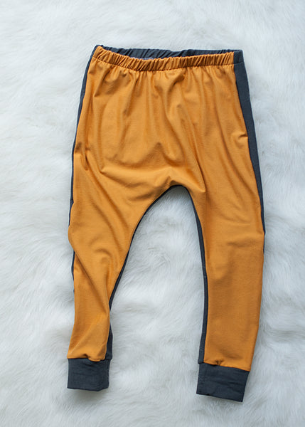 Mustard Charcoal Harem Pants - Grey on the Back Side