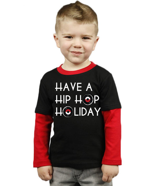 Hip Hop Holiday Toddler Tee Shirt - Red/Black Toddler Color Block Tee Shirt Long Sleeves