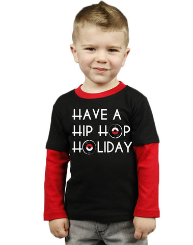 Hip Hop Holiday Toddler Tee Shirt *PREORDER - Red/Black Toddler Color Block Tee Shirt Long Sleeves