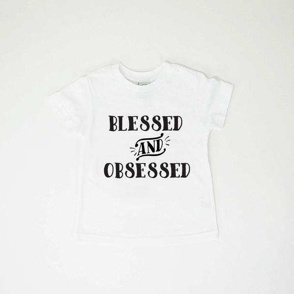 Blessed and Obsessed TEE - White Tee Black Ink-Tee Shirts-Hip Kid Apparel-kids graphic t-shirts-kids graphic tees-modern kids clothes-trendy shirts for kids-unisex kids shirts-for-boys-girls