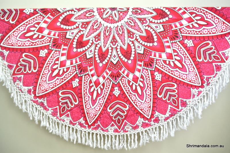 Neelkamal Red Ombre Mandala Beach Round Throw