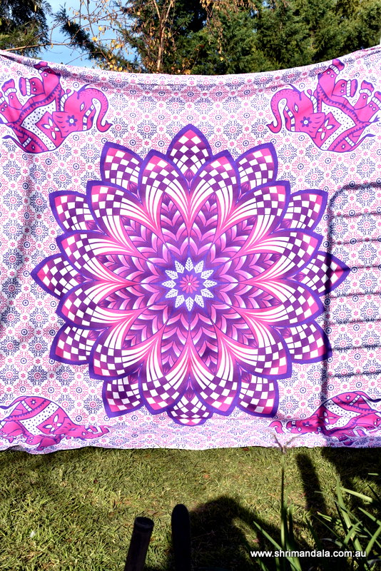 Ganesh Pink Purple Ombre Mandala Throw