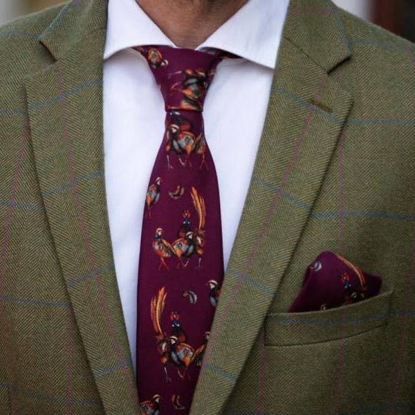 'Odd One Out' Silk Pocket Square in Mulberry