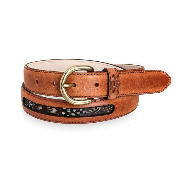 Drayton Leather Belt with Feathers