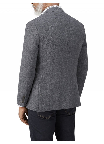 Gisburn Herringbone Single Breasted Jacket in Charcoal