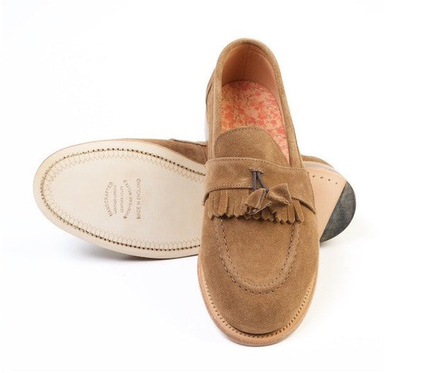 SERIN Brown Fringed Suede Loafers