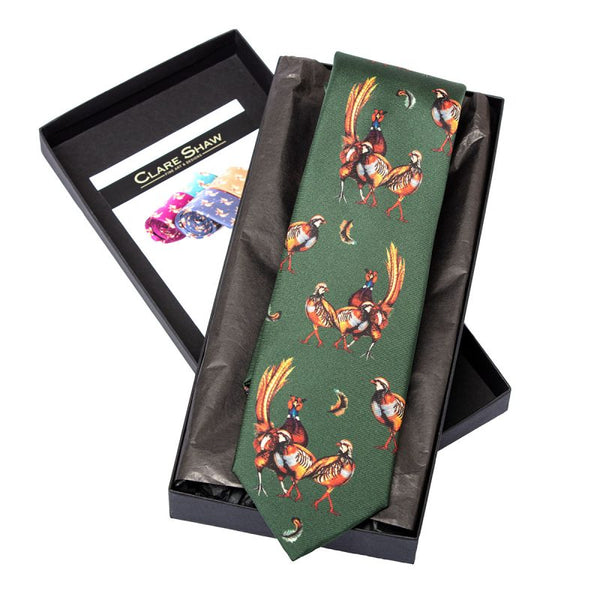 'Odd One Out' Silk Tie in Forest Green