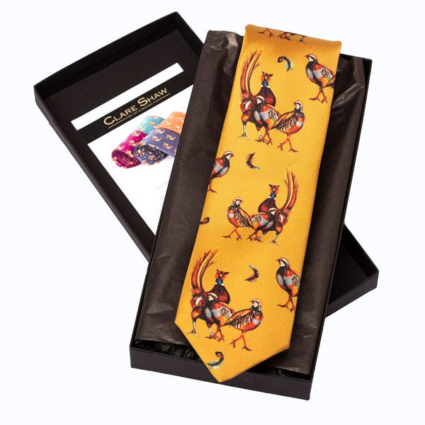 'Odd One Out' Silk Tie in Mustard
