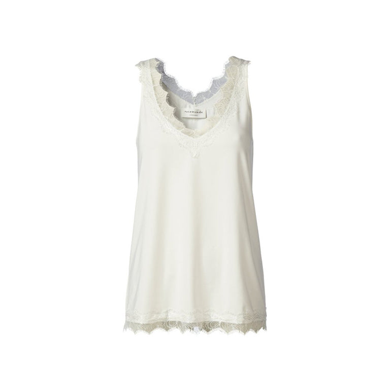 Billie lace top in New White by Rosemunde front