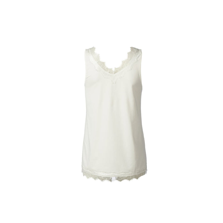 Billie lace top in New White by Rosemunde back