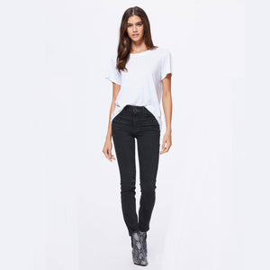 Woman Wearing Sarah Jeans By Paige In Willow Black