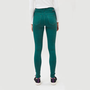 Woman Wearing Dr Denim Plenty Jeans In Deep Green