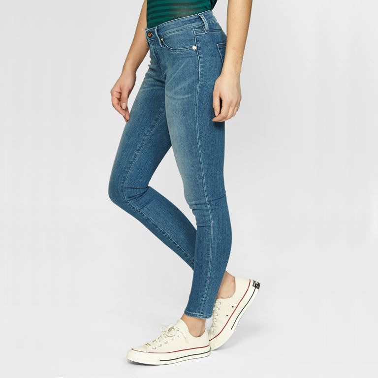 Woman Wearing Denham Spray Skinny Jeans Mid Blue