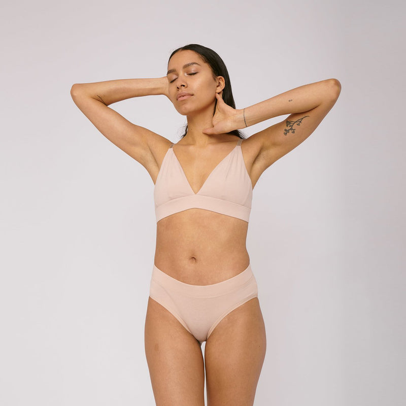 Organic cotton briefs in Rose Nude by Organic Basics
