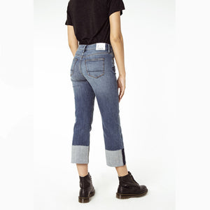 Woman wearing the Kelly Ginger Wide Leg Jean by Denham the Jeanmaker