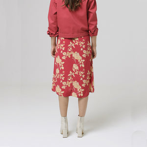woman wears Denham Venice skirt