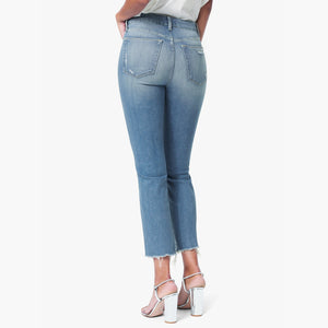Woman wears the Hi Honey jeans in Nettle by Joes Jeans