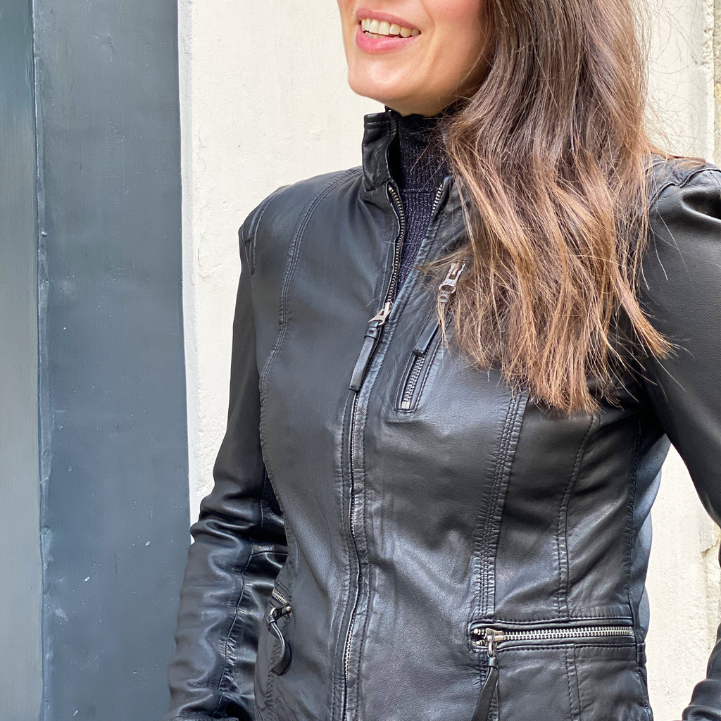 Adele wears the MDK Ruci leather biker jacket in black