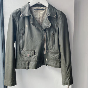 Green leather Seattle Biker jacket by MDK
