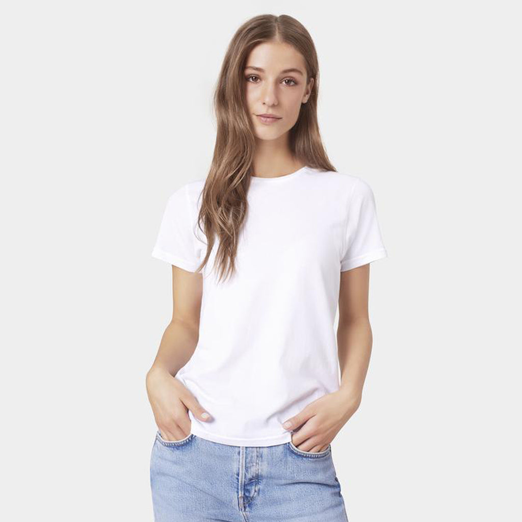 Woman wearing Light Organic Cotton tee in White by Colorful Standard