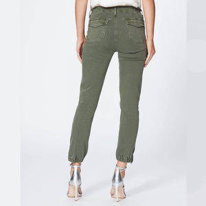 Woman wearing the Mayslie Joggers in Ivy Green from Paige