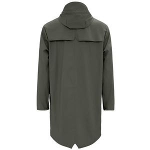 Long Waterproof Jacket in Green by Rains, back image.