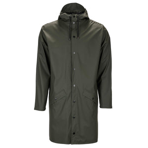 Long Waterproof Jacket in Green by Rains, front image