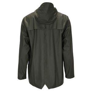 green short waterproof jacket by Rains