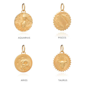 Gold Zodiac Necklace by Rachel Jackson