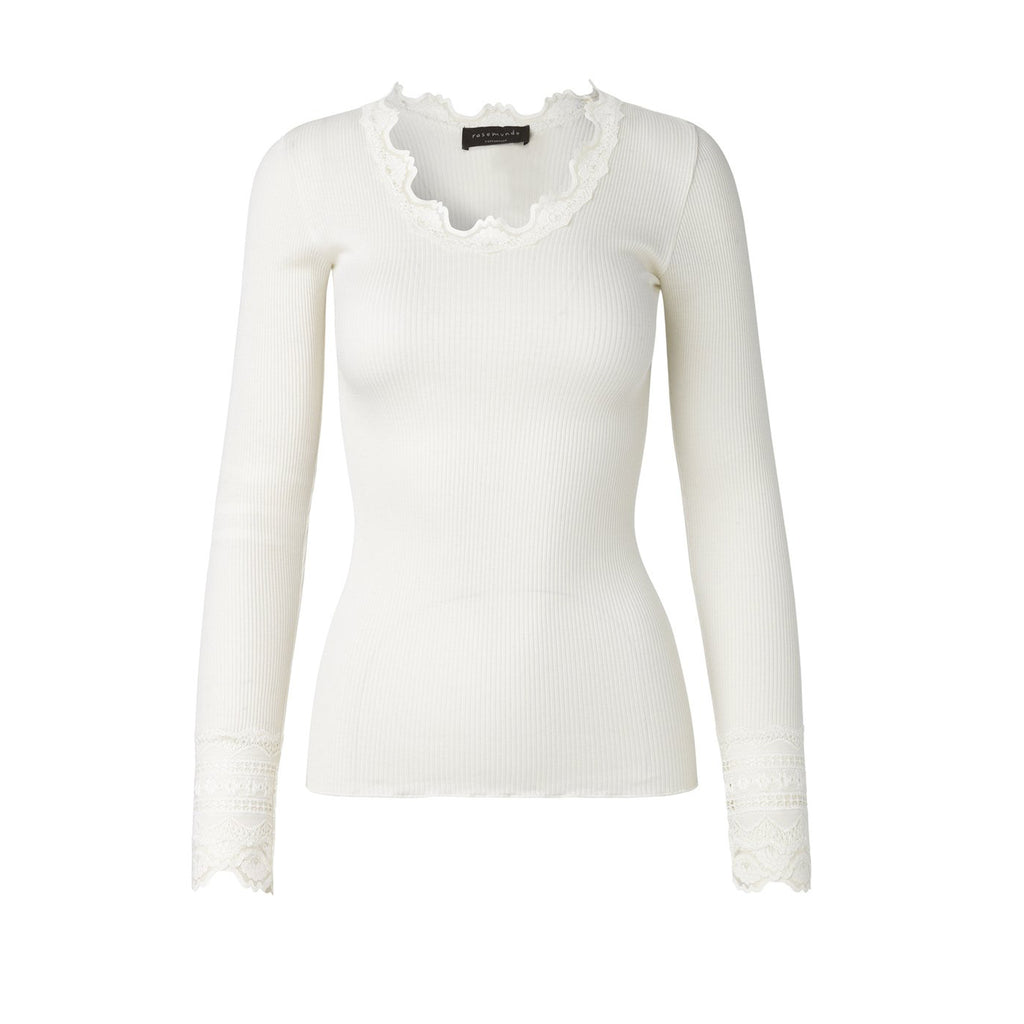 Rosemunde long sleeve silk top in Ivory front