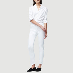 Woman wearing Le High Straight in white by Frame