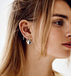 Woman wearing Moonscape Earring in Silver by Anna + Nina