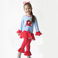 01F19 Farm Applique Girl's Pant Set L/S