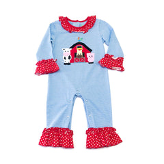 02F19 Farm Applique Girl's Romper L/S