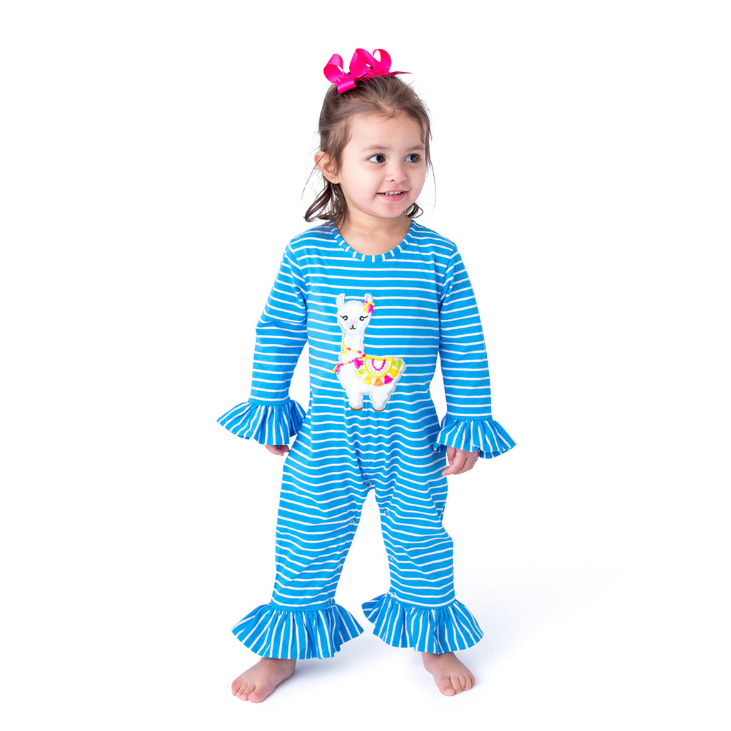 Applique Llama Baby Girl Long Romper