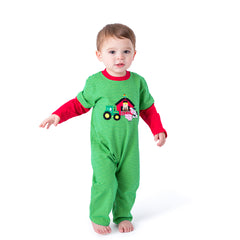 06F20 Farm Applique Boy's Romper