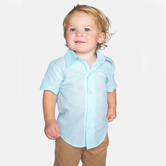 10S20 Mint Green Seersucker Boy's Button Up Shirt
