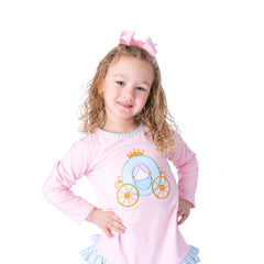 08F20 Princess Carriage Applique Girl's Pants Set