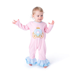 09F20 Princess Carriage Applique Baby Girl Romper