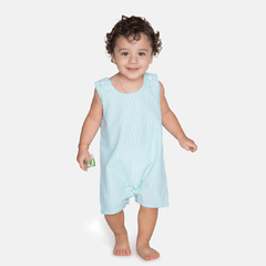 09S20 Seersucker Mint Green Boy's Shortall