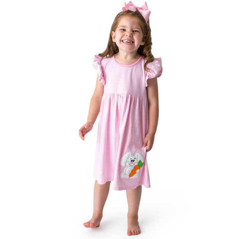 08S21 Applique Easter Bunny Girl's Romper