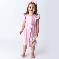 11S20 Applique Easter Bunny Girl's Dress