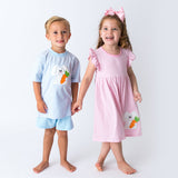 Wholesale Applique Bunny Boy's Short Set and Girl's Dress
