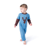 Applique Deer Boy's Long Romper