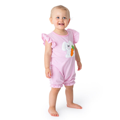 18S21 Applique Pelican Baby Girl Romper