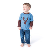 Deer Applique Boy's Shirt in Blue and Brown