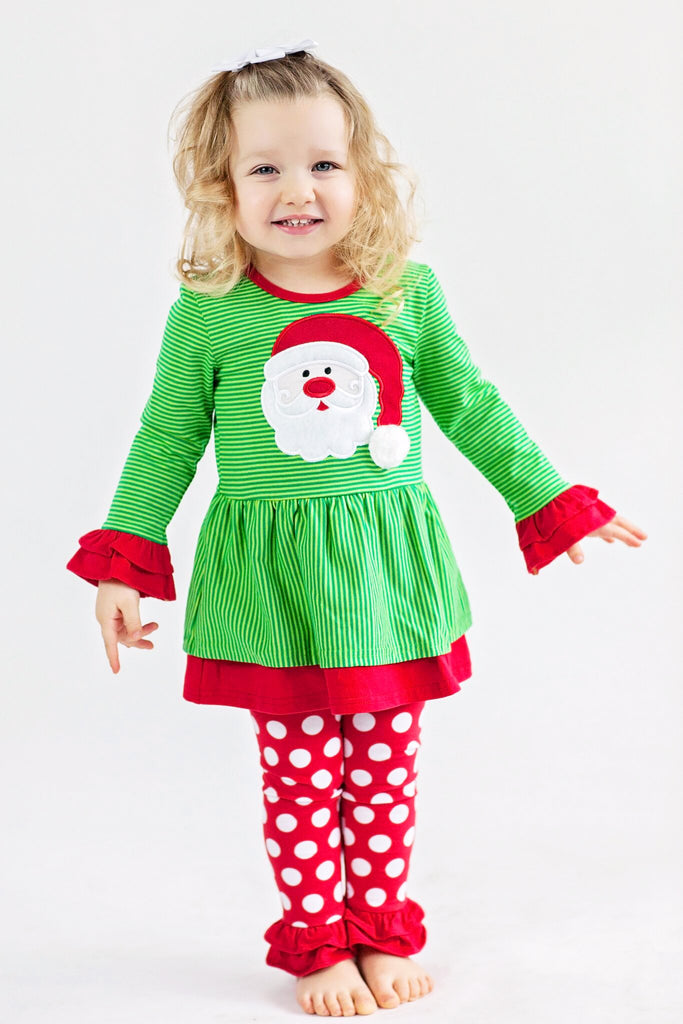 Applique Santa Girls Pants Set